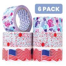 6 Pack- Printed Packaging Tape- 2XUSA Flag, 2XUnicorn, 2Xelephants