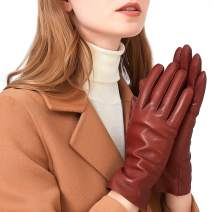 Luxury Italian Soft Leather Gloves for Women - Genuine SheepSkin Leather Women's Cold Weather Gloves Cashmere Lined