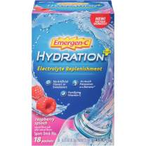 Emergen-C Hydration+ Sports Drink Mix With Vitamin C (18 Count, Raspberry Flavor), Electrolyte Replenishment, 0.33 Ounce Powder Packets