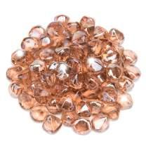 Li Decor 10 Pound Fire Glass Diamonds 1 Inch Fire Pit Glass Fire Glass Rocks for Gas Fireplace Champagne Pink Luster