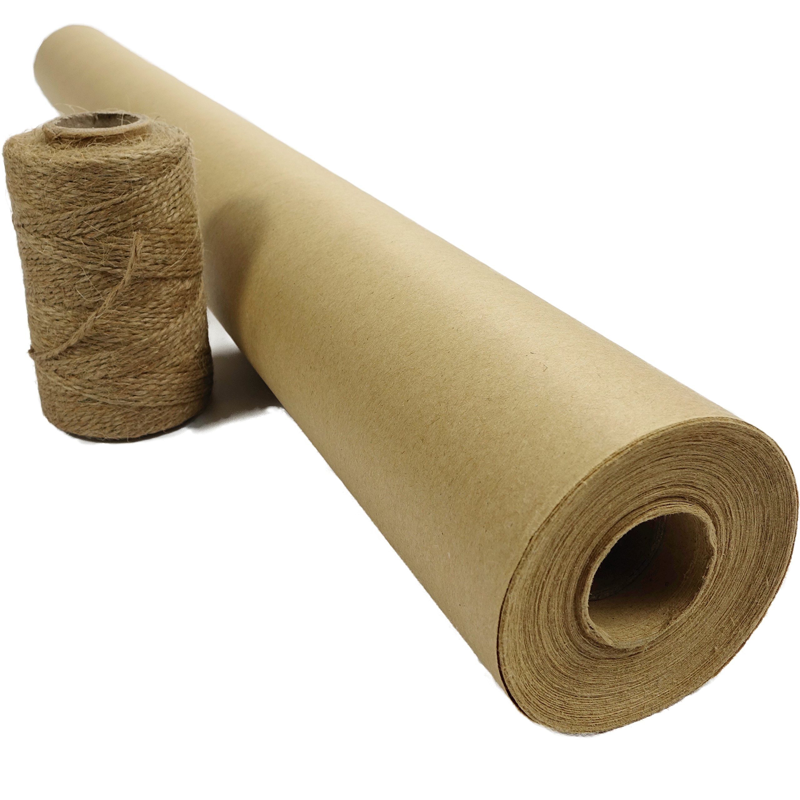 """Blami Arts Brown Kraft Paper Roll for Gift Wrapping - Jumbo 30"""" x 1200"""" (100 ft) XL - Thickness 50 - Recycled Made in USA with Jute Twine"""