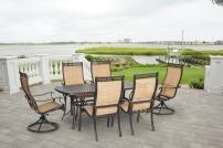 Hanover MANDN7PCSW-2-SU Manor 7-Piece 2 Swivel Rockers Outdoor Dining Set, Tan
