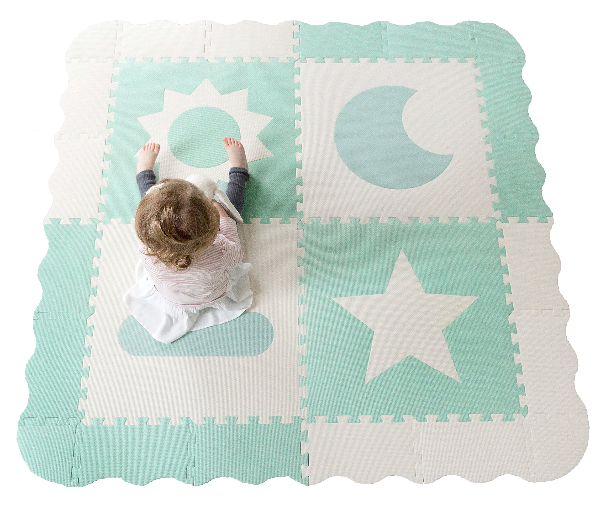 """Baby Play Mat Tiles - 61"""" x 61"""" Extra Large, Non Toxic Foam Baby Floor Mat - Teal & White Interlocking Playroom & Nursery Playmat - Safe & Protective for Infants & Toddlers"""