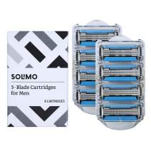 Amazon Brand - Solimo 5-Blade Razor Refills for Men with Dual Lubrication and Precision Beard Trimmer, 8 Cartridges (Fits Solimo Razor Handles only)