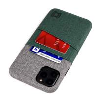 "Dockem iPhone 11 Pro Max Wallet Case: Built-in Metal Plate for Magnetic Mounting & 2 Card Slots (6.5"" Luxe M2 Synthetic Leather, Green & Grey)"