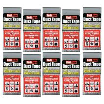 RediTape 10939 Compact Flat Fold Duct Tape for Travel, Camping, Photography and Emergencies   Pocket Size, 10-Pack, Silver, 10 Piece