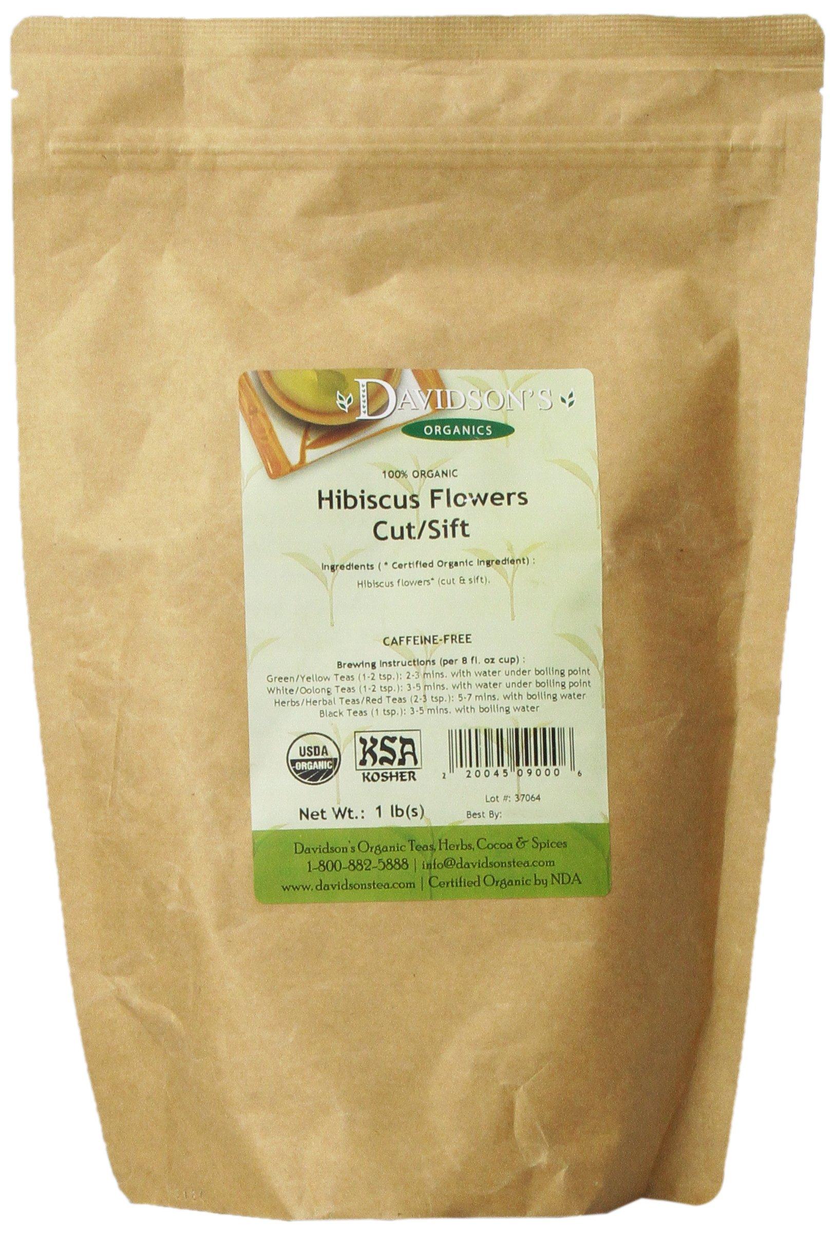 Davidson's Tea Bulk, Organic Hibiscus Flowers Cut and Sifted, 16 Ounce