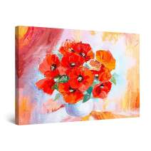 """Startonight Canvas Wall Art Amazing Red Poppies Morning Large Painting Framed 32"""" x 48"""""""