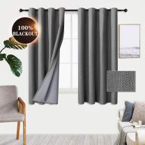 WONTEX 100% Light Grey Blackout Curtains for Bedroom 52 x 63 inch Length- Winter/Summer Thermal Insulated and Sun Blocking Faux Linen Window Curtain Panels for Living Room, Set of 2 Grommet Curtains