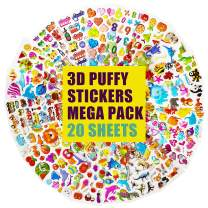 3D Stickers for Kids & Toddlers 500+ Puffy Stickers Bulk Kids Stickers for Scrapbooking Customizing Planners Notebooks Including Animal, Numbers, Fruits, Dinosaurs, Cars and More (20 Different Sheets)