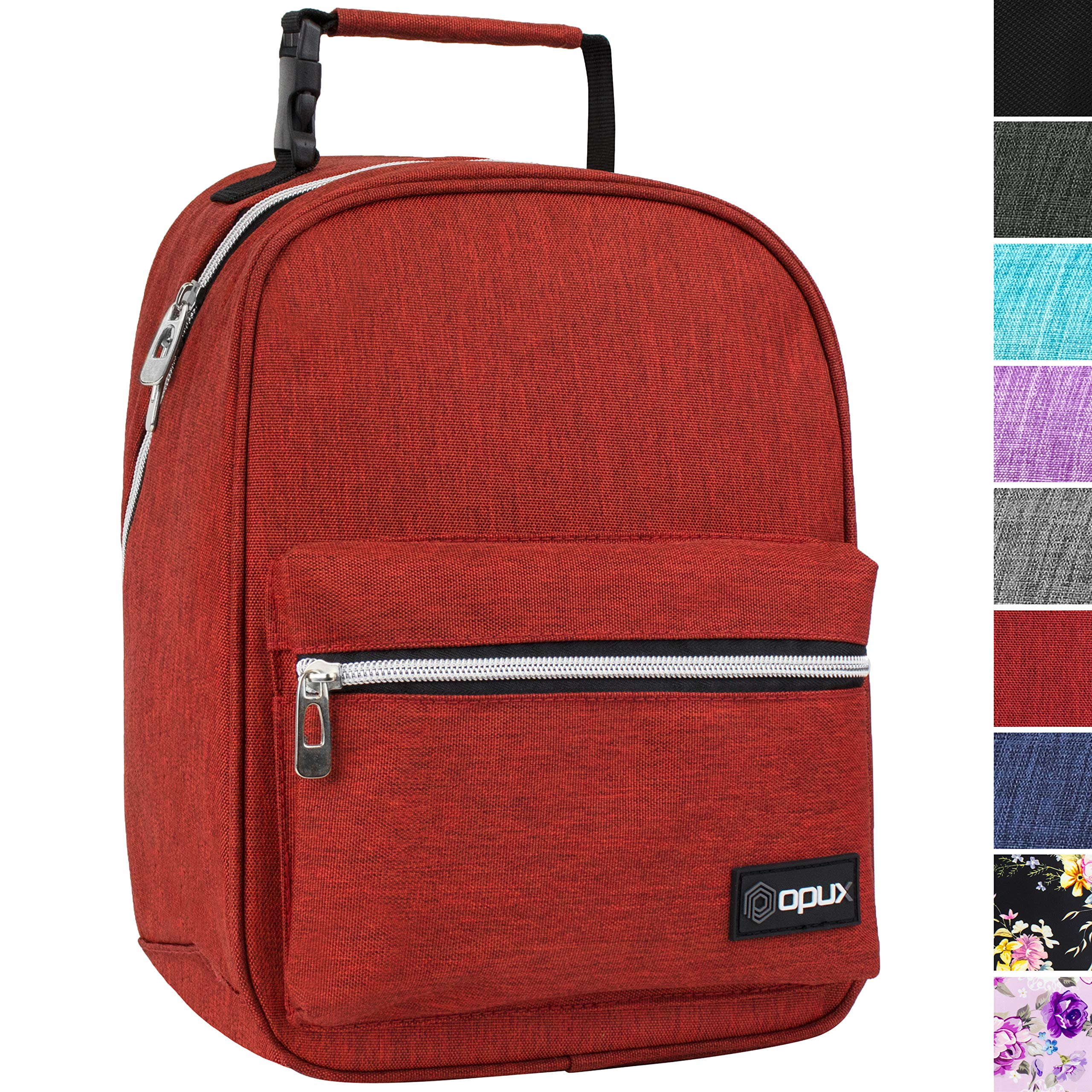 OPUX Premium Insulated Lunch Box for Boys, Girls | Durable Leakproof School Lunch Bag with Handle Clip, Mesh Pocket | Reusable Work Lunch Pail Cooler for Adult, Men, Women | Fits 14 Soda Cans (Red)