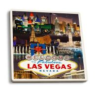 Las Vegas, Nevada - Casinos and Hotels Montage (Set of 4 Ceramic Coasters - Cork-Backed, Absorbent)