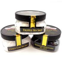 Finishing Sea Salt Collection 3-Pack: Black Lava, Truffle, Cyprus White - Perfect for Adding Flair and Flavor to Your Favorite Foods - Non-GMO, Gluten-Free, No MSG (10 total oz.)