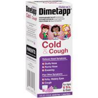 Dimetapp Children's Cold & Cough Antihistamine, Cough Suppressant, Decongestant (Grape Flavor, 4 fl. oz. Bottle)