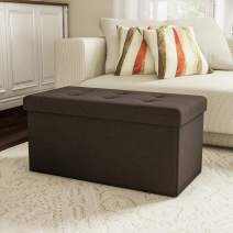 Lavish Home Large Folding Storage Bench Ottoman – Tufted Cube Organizer Furniture with Removable Bin for Home, Bedroom, Living Room (Brown),