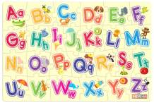 """ZiGYASAW Alphabets Giant Jumbo Jigsaw Floor Puzzle (Wipe-Clean Surface, Teaches Alphabets, 26 Pieces, 24"""" L x 36"""" W, Great Gift for Girls and Boys - Best for 3,4,5,6,7,8 Year Olds and Up)"""