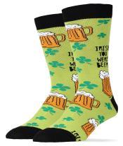 Oooh Yeah Men's Novelty Crew Socks, Beer Socks, Whiskey Socks, Funny Crazy Silly Socks, Cool Fashion Socks