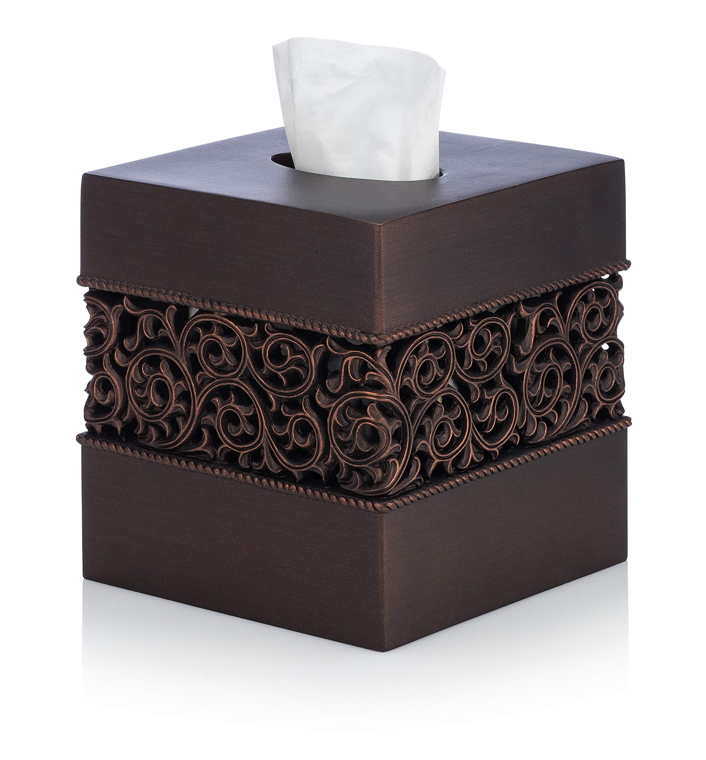 Essentra Home Bronze Finish Squared Tissue Box Cover for Bathroom Vanity Counter Tops Also Great for Bedrooms and Living Rooms