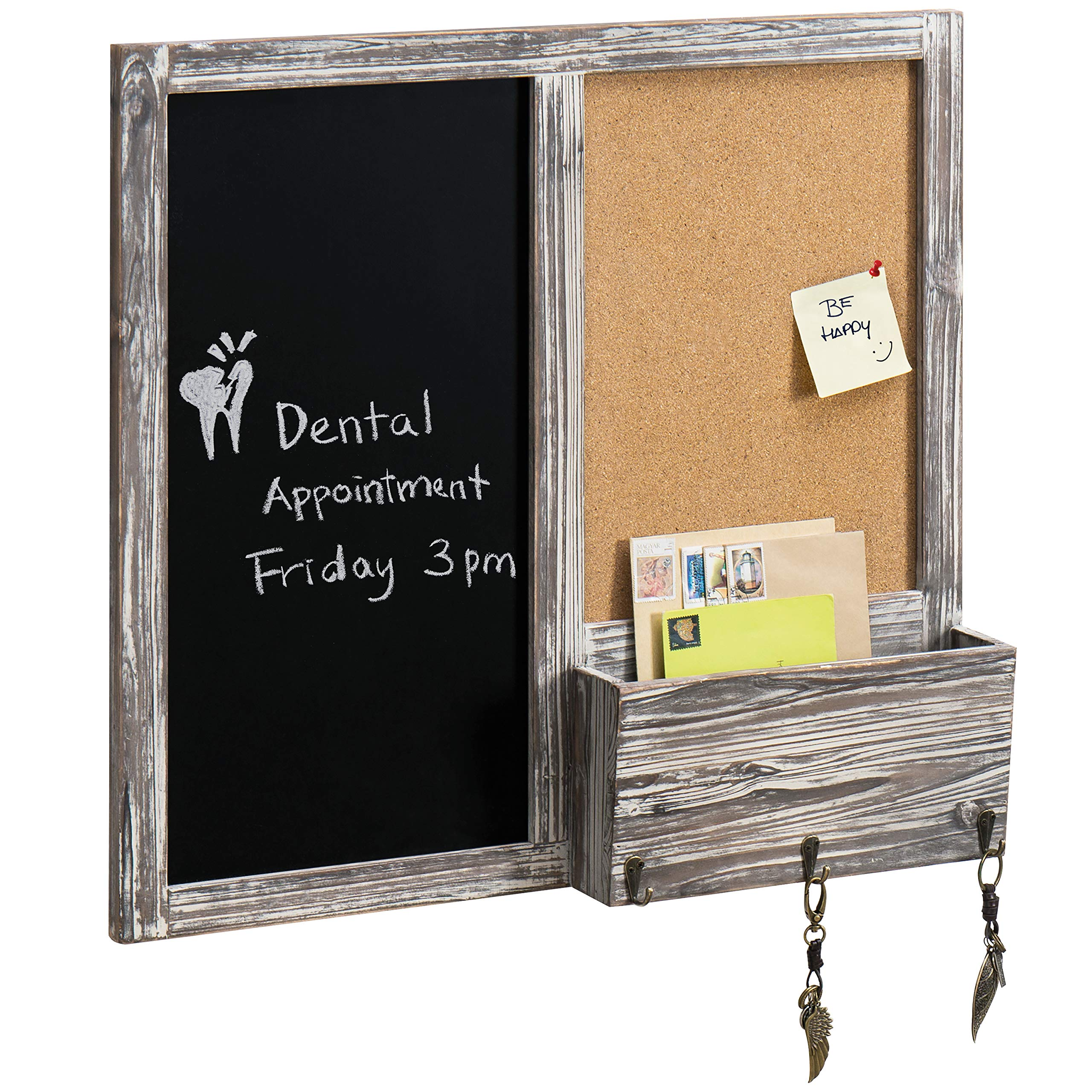 MyGift Wall Mounted Decorative Rustic Style Wood Framed Chalkboard Memo Message