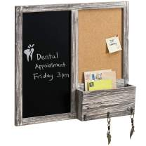 MyGift Wall Mounted Rustic Torched Wood Chalkboard & Corkboard Entryway Message Board with Mail Holder & Key Hooks