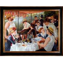 overstockArt Renoir Luncheon of The Boating Party with Opulent Frame Oil Painting, Dark Stained Wood and Gold Finish