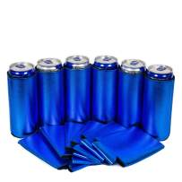 QualityPerfection Ultra Slim Can Cooler Sleeves, Energy/Beer Blank Skinny 12 oz Neoprene Coolie - Perfect For 12oz RedBull,Michelob Ultra,Truly (6, Metallic Royal Blue)