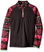 Spyder Girl's Surface Top Zip T-Neck – Kids Pullover Long Sleeve Active Shirt