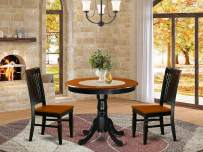 East West Furniture ANWE3-BCH-W dining room table set 2 Fantastic dining room chairs - A Gorgeous kitchen table- cherry Color Wooden Seat cherry and black mid-century dining table