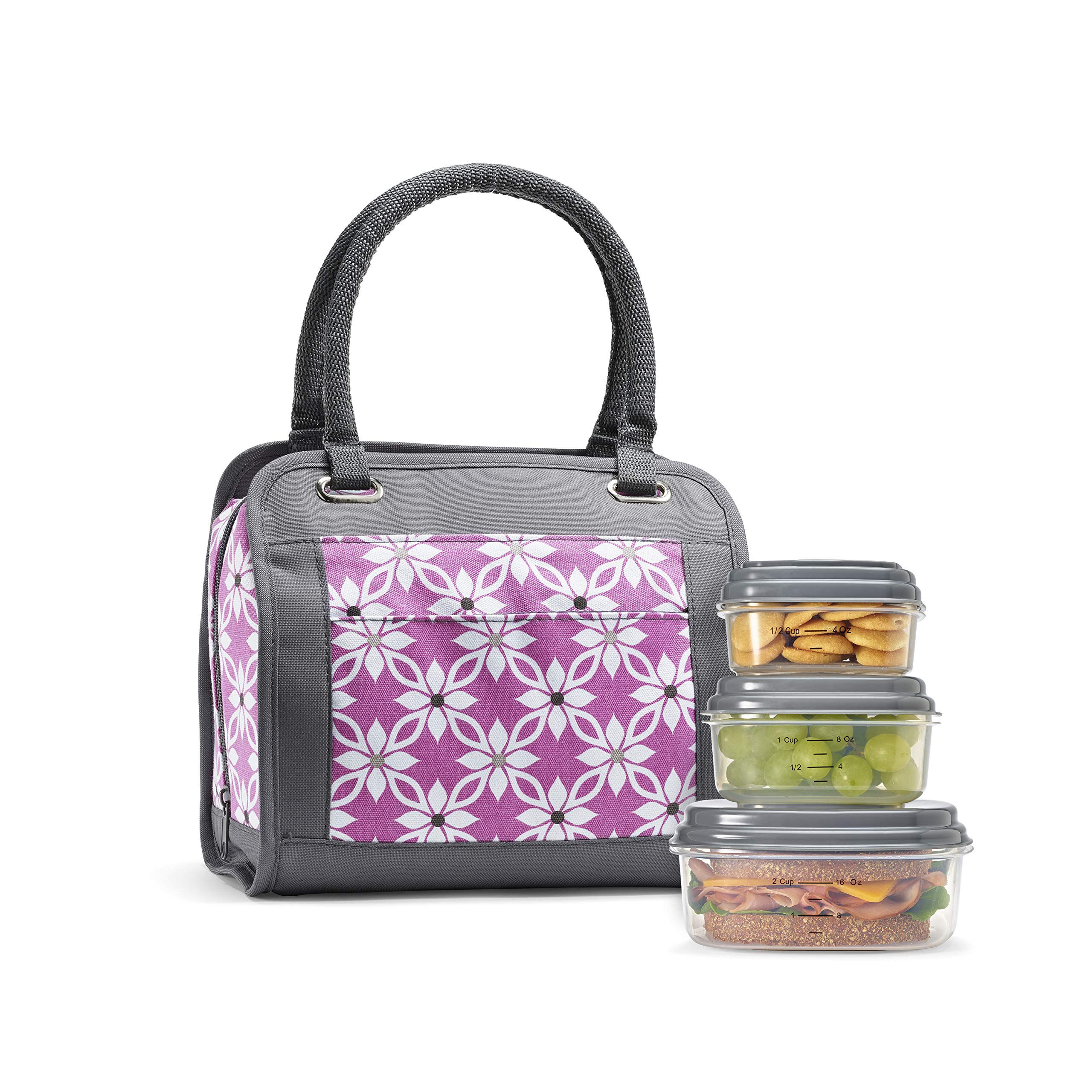 Fit & Fresh Insulated Lunch Bag Kit, includes BPA-Free Container Set, Ashland Orchid Dogwood