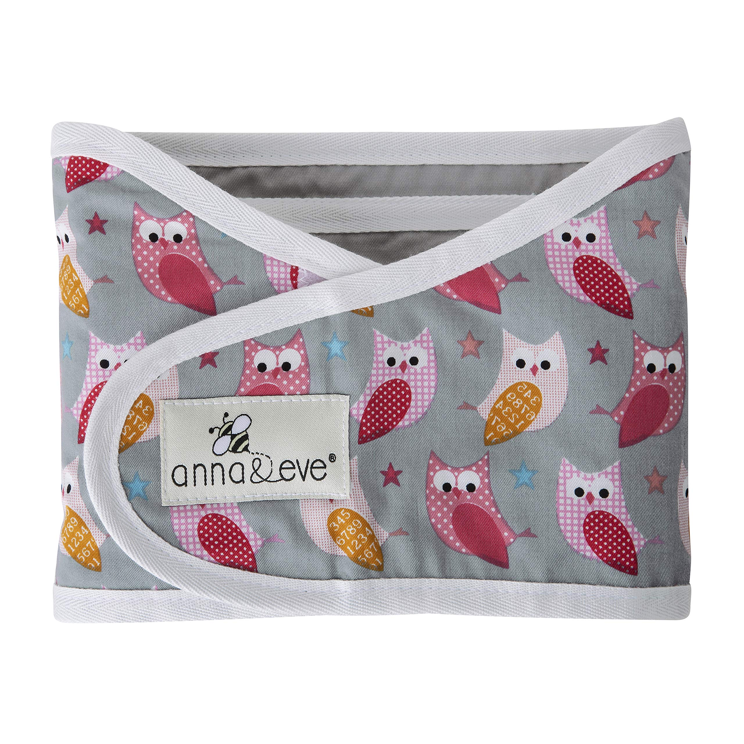 Anna & Eve - Baby Swaddle Strap, Adjustable Arms Only Wrap for Safe Sleeping - Small Size Fits Chest 13.5 to 17, Owls Grey/Pink