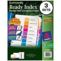 Avery Eco-Friendly 8 Tab Dividers for 3 Ring Binders, Customizable Table of Contents, 3 Sets (11081),Multi-color