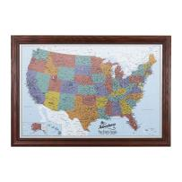 Push Pin Travel Maps Canvas - Personalized Blue Oceans USA with Solid Wood Cherry Red Frame