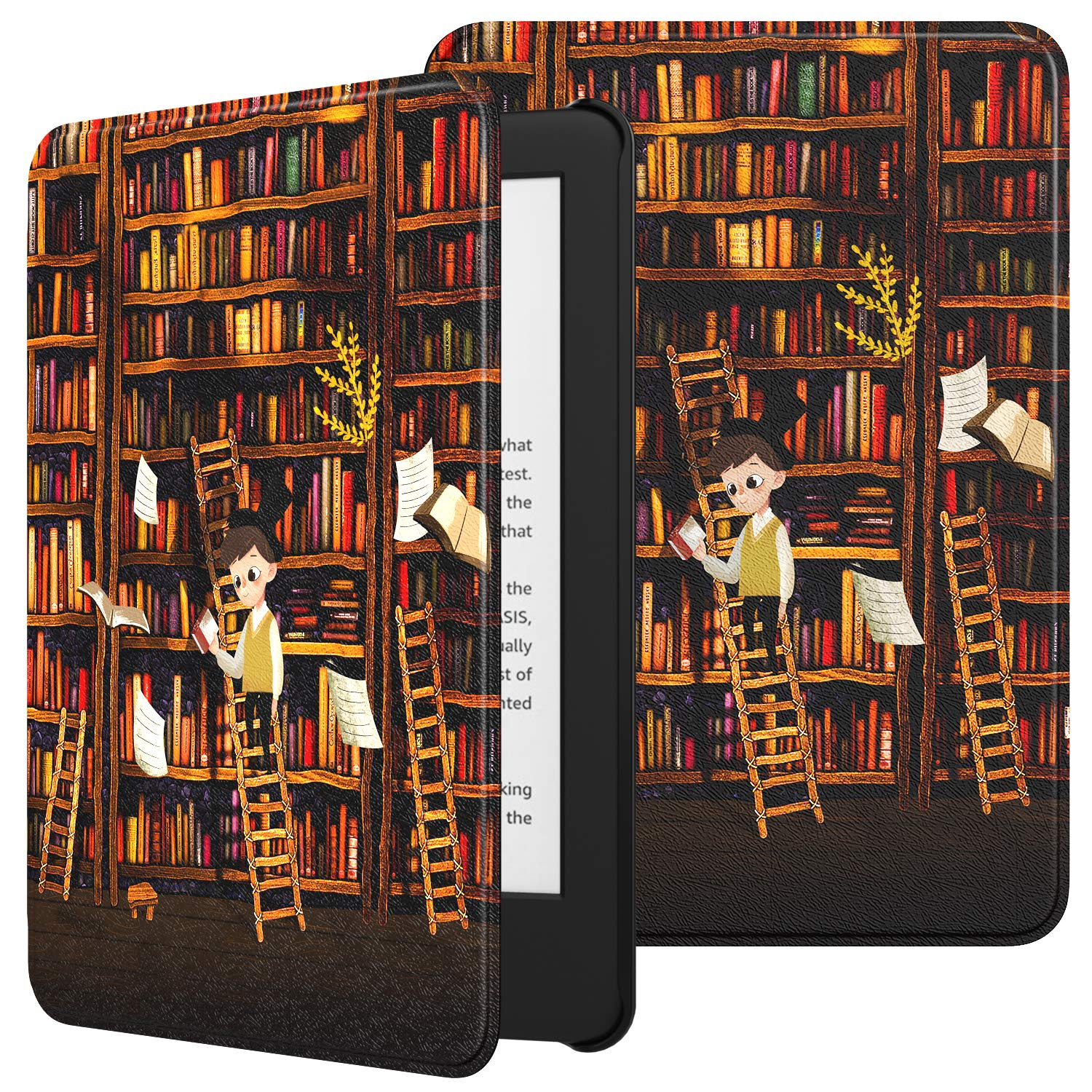 TiMOVO Case Compatible for All-New Kindle (10th Generation, 2019 Release), Premium Thin Lightweight Leather Cover with Auto Wake/Sleep Fits Amazon Kindle, Not Fit Kindle Paperwhite - Bookshelf