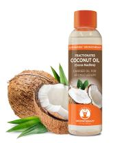 Fractionated Coconut Oil Cold Pressed Coconut oil by GuruNanda - Natural & Pure Carrier Oil Massage Oil Odorless for Skin & Hair 4 Fluid Ounces Premium, Natural, Cruelty-Free, Unrefined