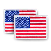 """Skyhawk American Flag USA US Embroidered Iron On Sew On Patch (White Border) 3.5"""" x 2.5"""" - 2 Pack"""