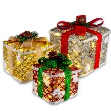 JOYIN Deluxe Lighted Gift Boxes for Christmas Decoration-with 8 Modes 150 LED Light String
