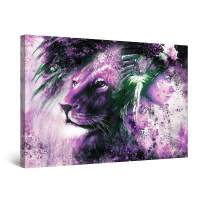 """Startonight Canvas Wall Art Purple Lion and Woman Blended, Framed 32"""" x 48"""""""