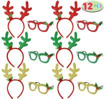 6 Pcs Christmas Reindeer Headbands and 6 Pcs Christmas Party Fancy Glasses Frames Bundle Pack of 12 for Christmas and Holiday Parties (ONE SIZE FIT ALL)