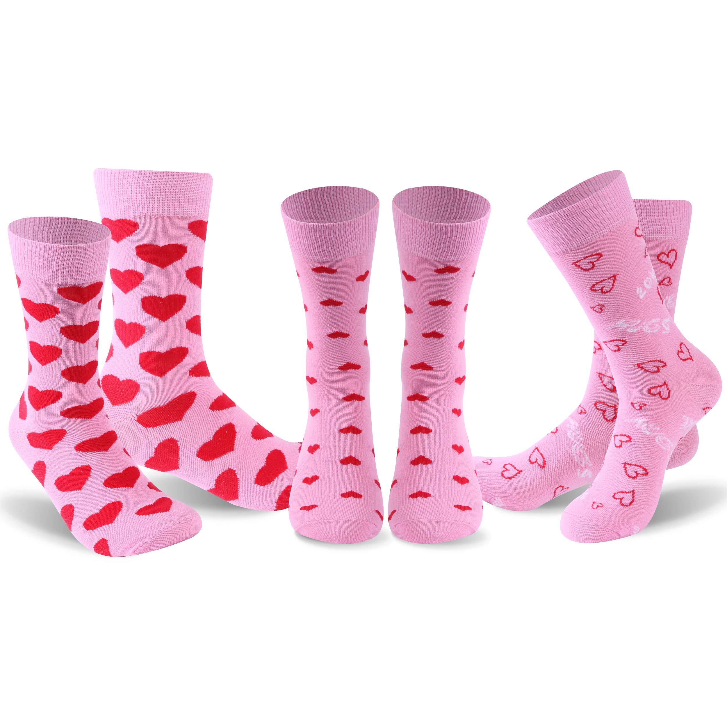 Heart Printed Novelty Socks, FOOTPLUS Womens Cotton Love Anniversary Gift Crew Dress Socks
