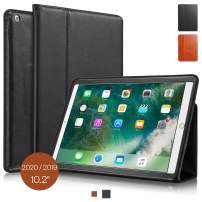 "KAVAJ Case Leather Cover Berlin Works with Apple iPad 2019 10.2"" Black Genuine Cowhide Leather with Built-in Stand Auto Wake/Sleep Function. Slim Fit Smart Folio Covers"