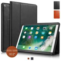 """KAVAJ Case Leather Cover Berlin Works with Apple iPad 2019 10.2"""" Black Genuine Cowhide Leather with Built-in Stand Auto Wake/Sleep Function. Slim Fit Smart Folio Covers"""