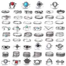 LOLIAS 58 Pcs Vintage Knuckle Ring Set for Women Girls Stackable Rings Set Hollow Carved Flowers (E:58 Pcs a Set)