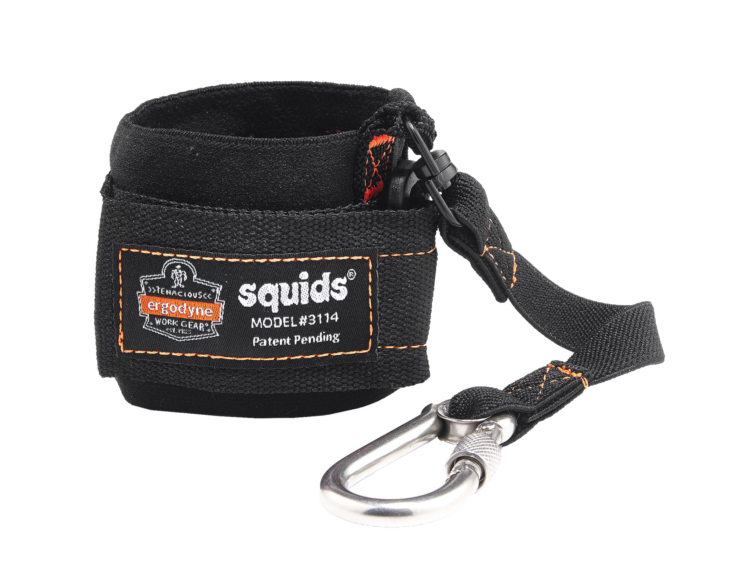 Ergodyne Squids 3114 Pull-On Wrist Tool Lanyard with Stainless Steel Carabiner Connection, 3 Pounds