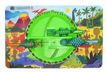 Constructive Eating Dinosaur Combo with Utensil Set, Plate, and Placemat for Toddlers, Infants, Babies and Kids - Flatware Toys are Made in The USA with Materials Tested for Safety