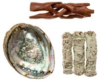 Premium Bundle with 5 Inch or Larger Abalone Shell, Stained Wooden Tripod Stand, and 3 California White Sage Smudge Sticks for Incense Burning, Home Fragrance, Energy Clearing, Yoga, Meditation