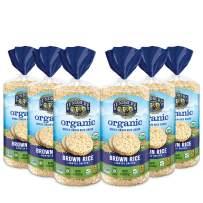 Lundberg Organic Brown Rice Cakes, Lightly Salted, 8.5oz (6 Count), Gluten-Free, Vegan, USDA Certified Organic, Non-Gmo Verified, Kosher, Whole Grain Brown Rice