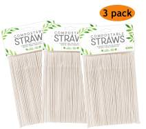 Evriholder CSTW12-AMZ Compostable Straws 100 Pack, Made of Plant-Based PLA Material, Pack of 3, Unwrapped