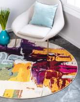 Unique Loom Estrella Collection Colorful Abstract Beige Round Rug (6' 0 x 6' 0)