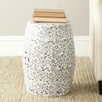 Safavieh Flower and Vine Ceramic Decorative Garden Stool, White and Charcoal