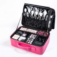 ROWNYEON Makeup Case Travel Makeup Bag Makeup Organizers Bag Makeup Train Case Professional Portable Cosmetic Bag for Women Waterproof PU Leather EVA Adjustable Dividers Gift for Girls Medium pink